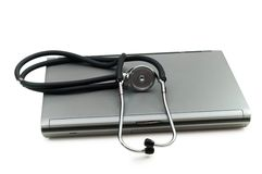 Stethoscope and laptop Stock Photo