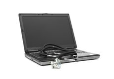 Stethoscope and laptop Royalty Free Stock Photos
