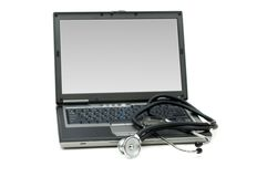Stethoscope and laptop. Illustrating concept of digital security Stock Photo