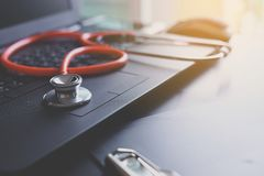 Stethoscope on laptop,Healthcare and medical concept,Selective focus stock images