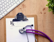Stethoscope on laptop keyboard. Concept 3D image Royalty Free Stock Photos