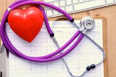 Stethoscope on laptop keyboard. Concept 3D image Royalty Free Stock Image