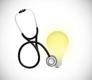 Stethoscope and light bulb illustration design Stock Photos
