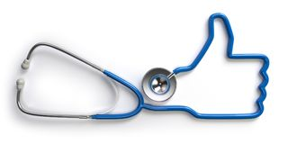 Stethoscope and like thumb up finger  on white backgroun Royalty Free Stock Photos