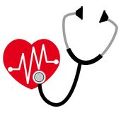 Stethoscope listening to a heart. Cardiology vector icon. Stethoscope listening to a heart. Healthcare and medical cardiology vector icon. Flat design Stock Photo