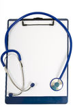 Stethoscope Lying On Clipboard With Blank Sheet of Paper Stock Image