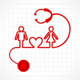 Stethoscope make family icon Stock Images
