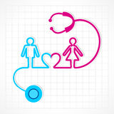 Stethoscope make male,female and heart symbol Stock Photography