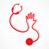 Stethoscope make shape of hand Royalty Free Stock Photos