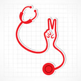 Stethoscope make shape of victory hand Stock Images