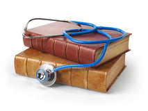 Stethoscope on medical books isolated on white, Medicine and med. Ical education concept. 3d illustration Royalty Free Stock Images