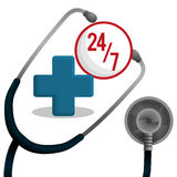 Stethoscope medical equipment service 24-7 Stock Image