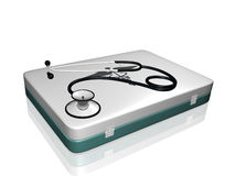 Stethoscope and Medical Kit Stock Photo