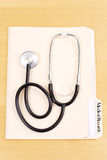 Stethoscope with Medical Records Royalty Free Stock Photo