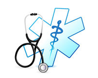 Stethoscope and medical symbol illustration Stock Images