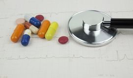 Stethoscope and medications on a sheet of ECG depicting a cardiology consultation. Image Royalty Free Stock Photography