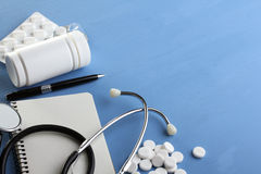 Stethoscope and medicines Stock Photography