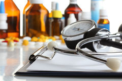 Stethoscope and medicines Royalty Free Stock Images