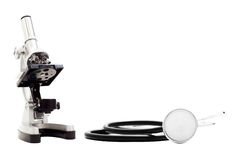 Stethoscope and microscope Royalty Free Stock Image