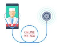 Stethoscope on a mobile phone with doctor on the screen. Stock Photography