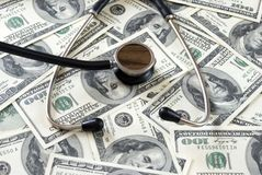 Stethoscope on money Stock Image