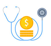The stethoscope and money. Medical cost, financial, insurance. The stethoscope and money. Medical cost and insurance flat concept. Coins and phonendoscope Royalty Free Stock Photos