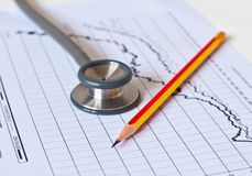 Free Stethoscope On Medical Graph . Royalty Free Stock Image - 24292516