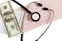 Stethoscope with one hundred dollars and cardiogram Stock Images