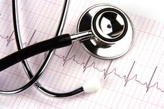 Stethoscope Over A Electrocardiogram royalty free stock photography