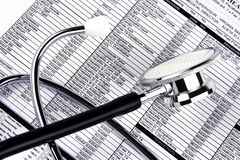 Stethoscope Over A Report Royalty Free Stock Photo