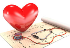 Stethoscope, paper, cardiogram and heart. Stock Photos
