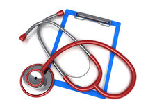 Stethoscope and paper clip Royalty Free Stock Photos