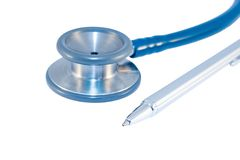 Stethoscope and pen Stock Images