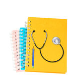Stethoscope  with  pencil  on white background Royalty Free Stock Photos