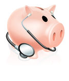 Stethoscope piggy bank. Concept illustration, concept for healthcare related finances or taking a financial health check Royalty Free Stock Images