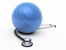 Stethoscope and pilates ball. Render ( on white and clipping path Royalty Free Stock Image