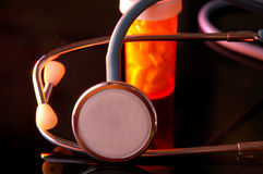 Stethoscope and Pill Bottle Stock Images