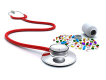Stethoscope and pills Royalty Free Stock Photography
