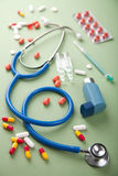 Stethoscope and pills Royalty Free Stock Image
