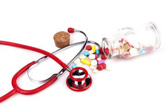 Stethoscope and Pills Stock Photography