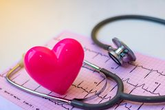 Stethoscope and pink Heart. royalty free stock photography