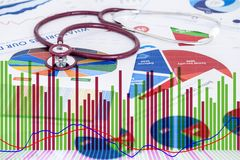 Stethoscope are placed on the annual financial statements Royalty Free Stock Photo