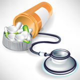 Stethoscope and plastic bottle and pills Stock Images