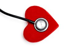 Stethoscope on a plush red heart box Royalty Free Stock Photography