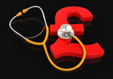 Stethoscope and Pound (clipping path included) Stock Image
