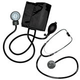 The stethoscope and pressure gauge device. On white background Stock Image