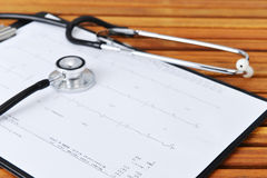 Stethoscope and printout Royalty Free Stock Photo