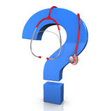 Stethoscope Question Mark. Red stethoscope with blue question mark on the white background Stock Photography