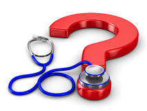 Stethoscope and question on white background Royalty Free Stock Photo