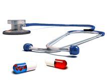 Stethoscope with red and blue pills isolated Royalty Free Stock Image